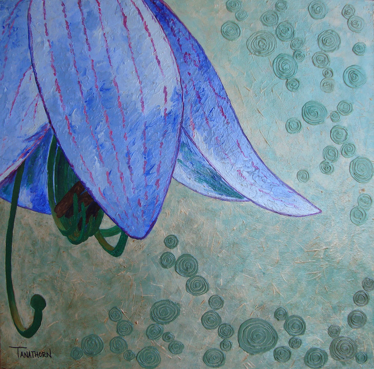 Umbrella Lily flower painting, relaxing painting, contemporary art